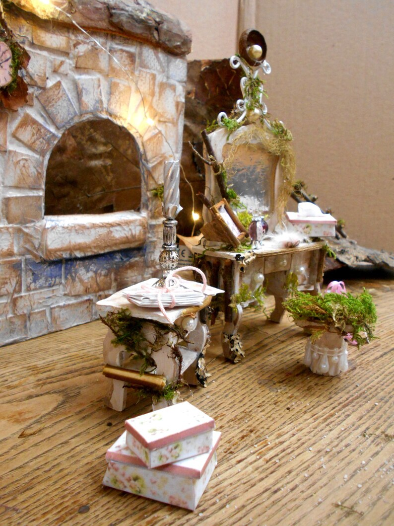 Bis 1.2 Fireplace Manual Miniature Vanity Table With Side Dresser Many Details Handmade By Fairyinspired