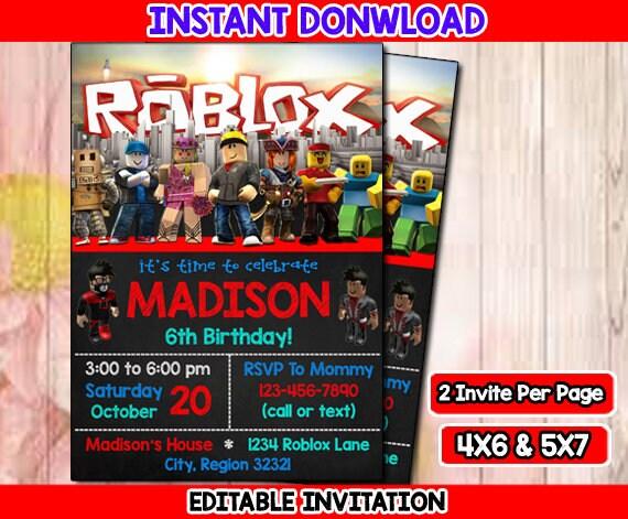 Roblox Birthday Invitation Etsy