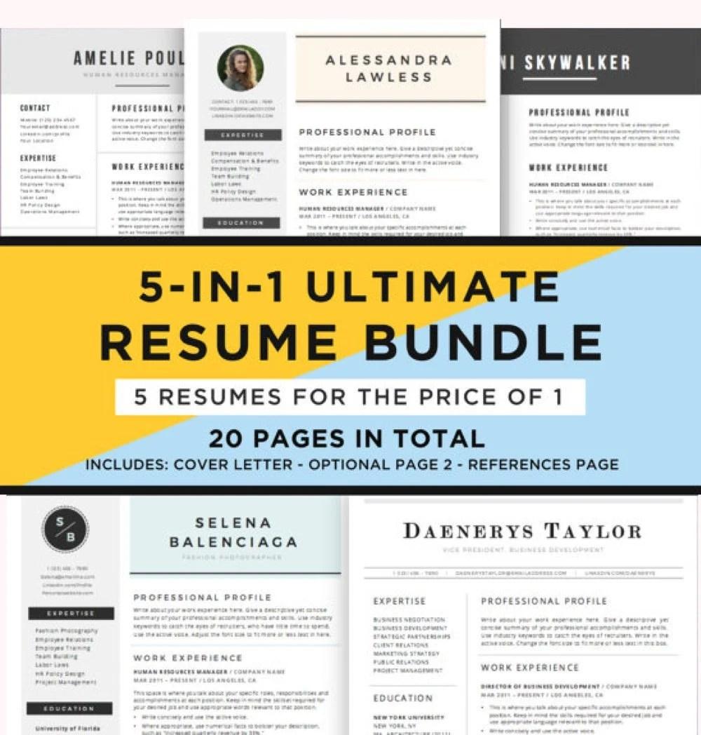 Resume Template Bundle CV Bundle 5 Resume Designs in 1 20 Etsy