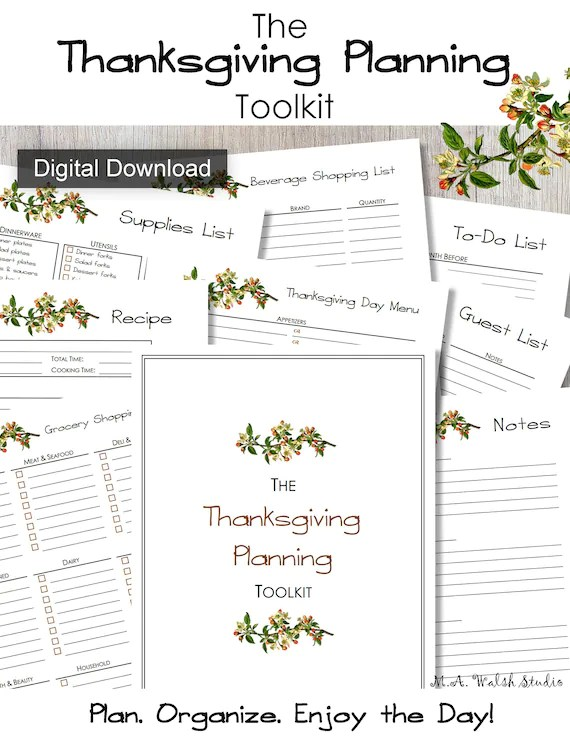 Thanksgiving Planning Toolkit Printables Meal Planning Etsy