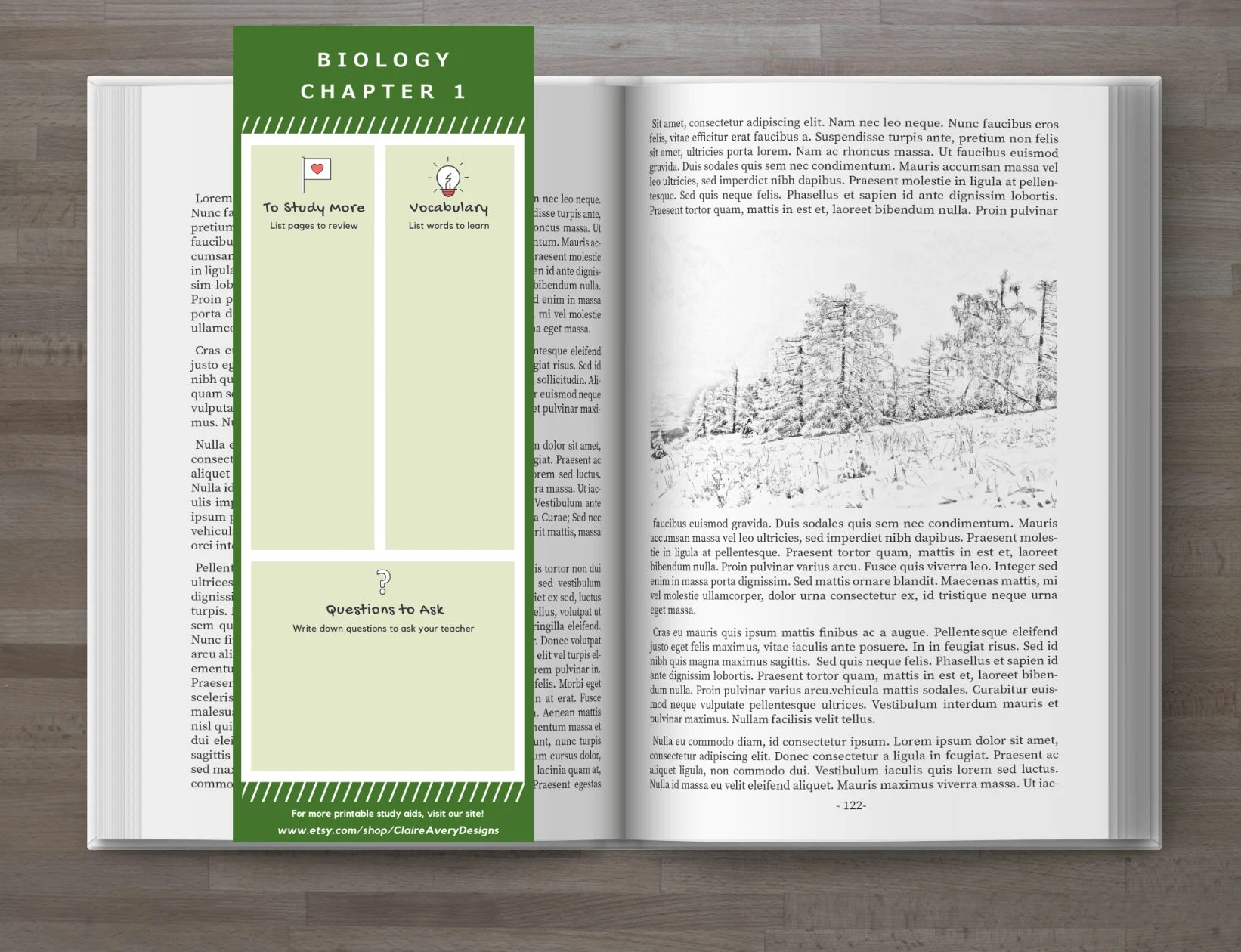 Printable Bookmark Study Guide - Instant Download - Green Template for Notes