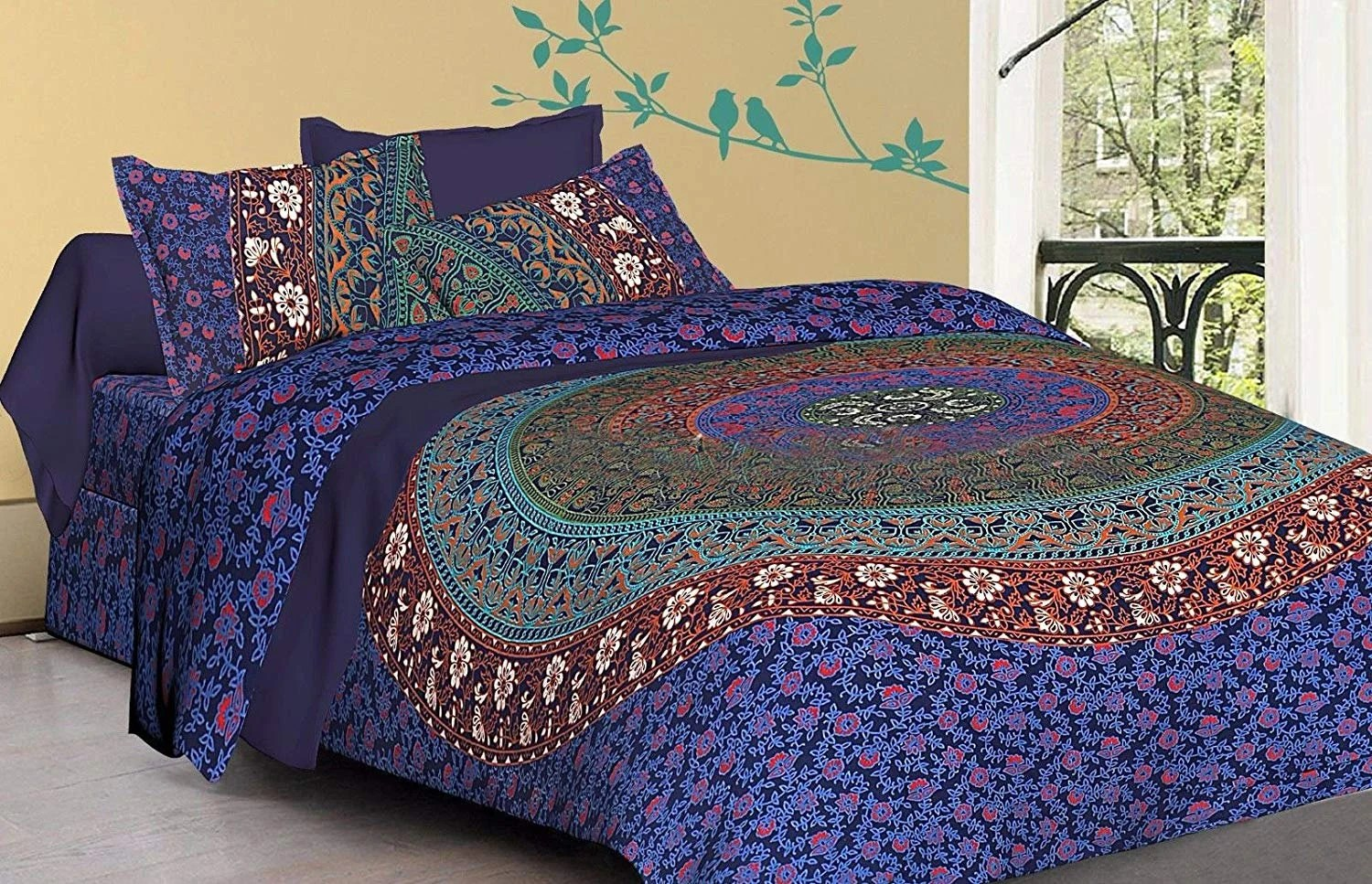 Boho Quilt Covers Australia Indian Round Flower Mandala Duvet Quilt Cover Boho Doona Comforter Quilt Cover Handmade Reversible Bedding Blanket Bed Cover Set