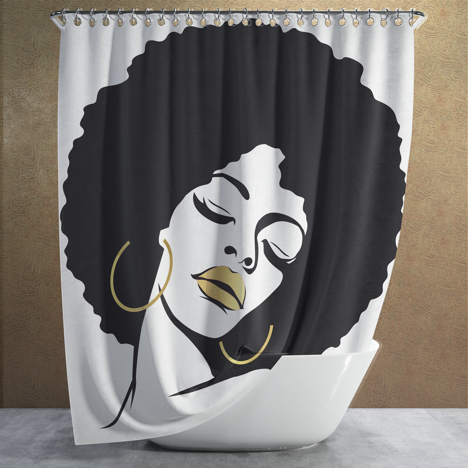 Black Queen Shower Curtain White Black Girl Magic Shower Curtain Bathroom Wall Tapestry Faux Gold Lips Afro Diva Melanin Queen African Home Gift Housewarming Wedding