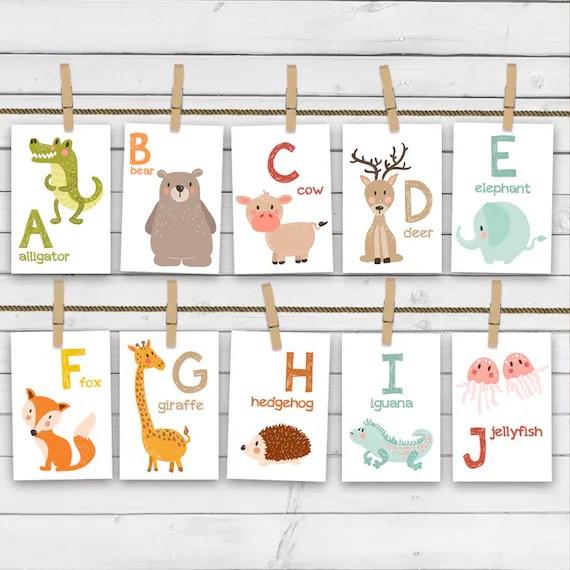 Animal alphabet card set Alphabet flash cards abc Nursery wall Etsy