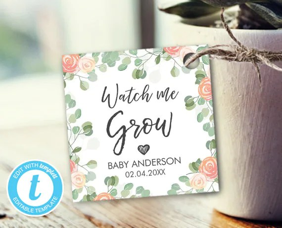 Watch me Grow tags Baby Shower tags Printable tags Favor tags Etsy