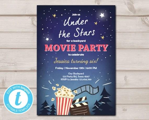 Movie Night Birthday Invitation Under The Stars Outdoor Etsy