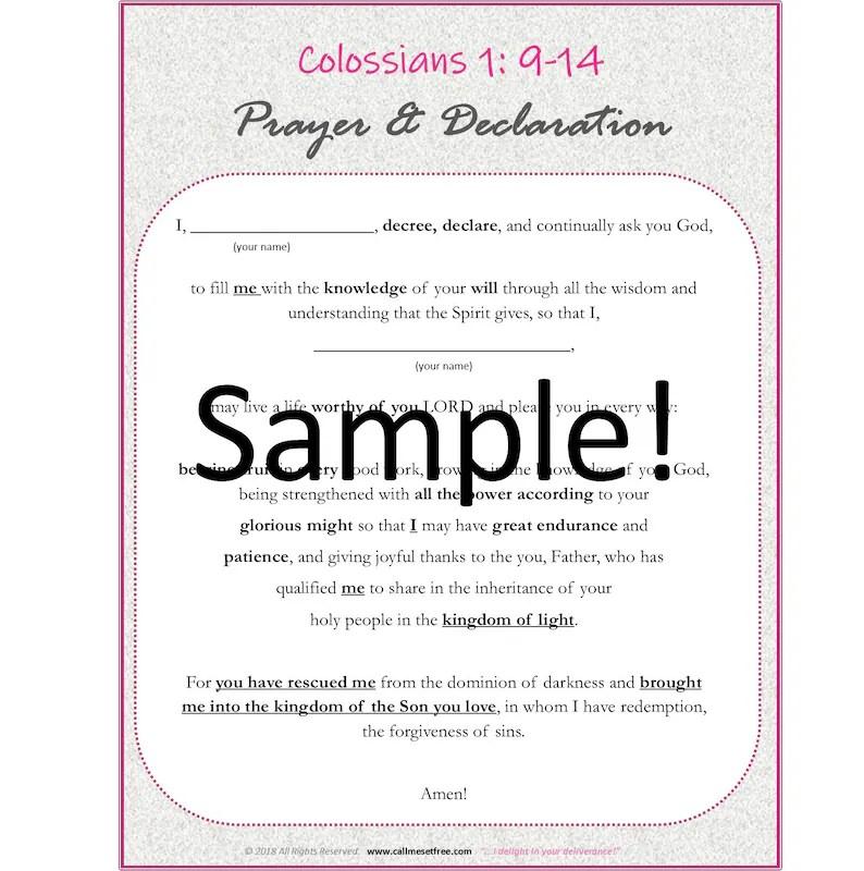Colossians Prayer Template Etsy