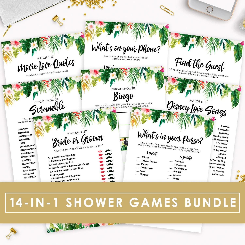 Bridal Shower Games Bundle Printable 14-in-1 Floral Wedding Etsy