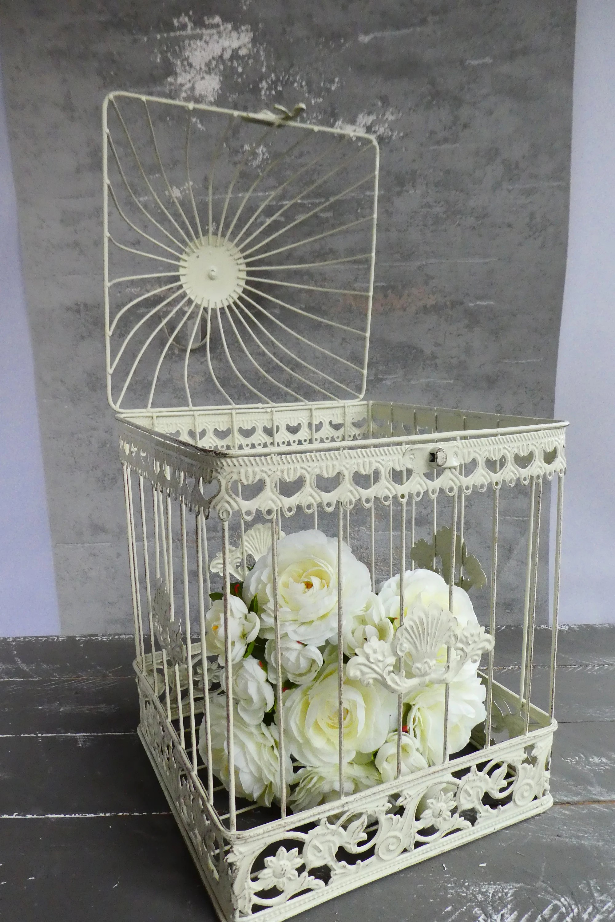 Shabby Chic Cuxhaven Decoration Birdcage In Shabby Chic Vintage Large Wedding Post