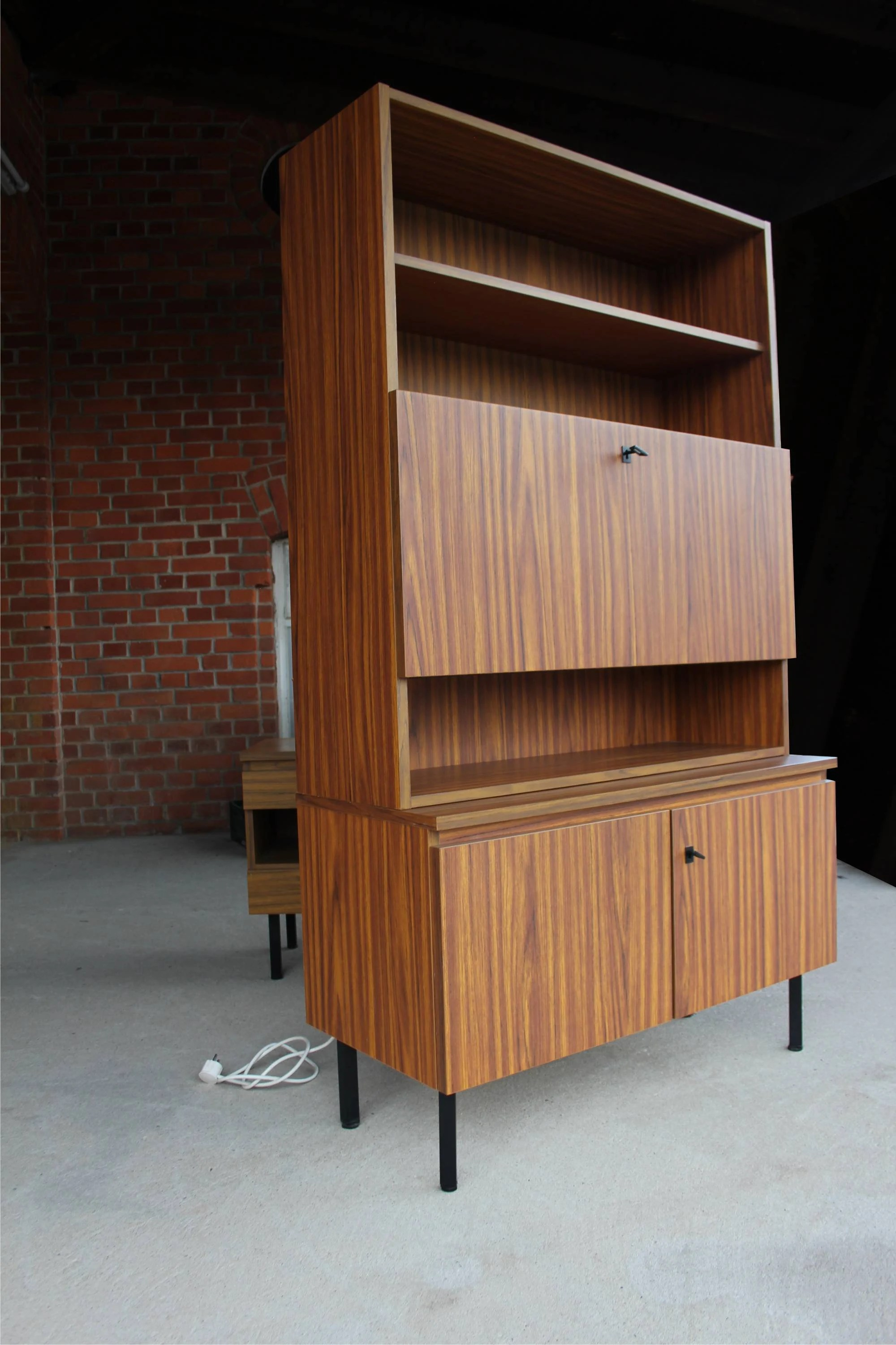 Badschrank Antik Superbeautiful Writing Cabinet Secretary Highboard Lit Up From 60s