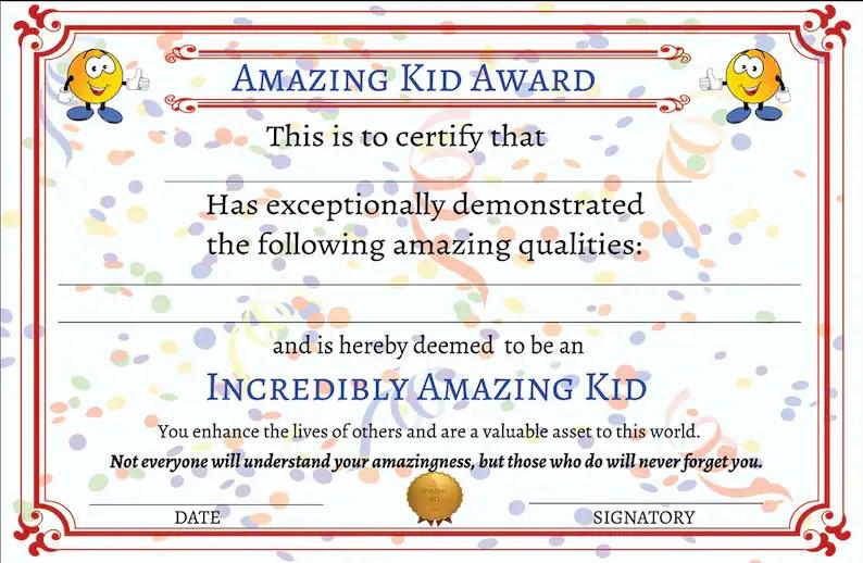 Amazing Kid Award Printable Certificate Printable Awards for Etsy