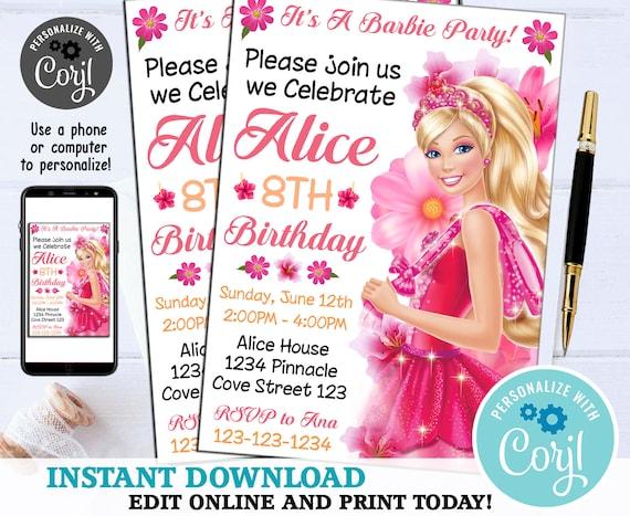 INSTANT DOWNLOAD_ Barbie Invitation Barbie Birthday Disney Etsy