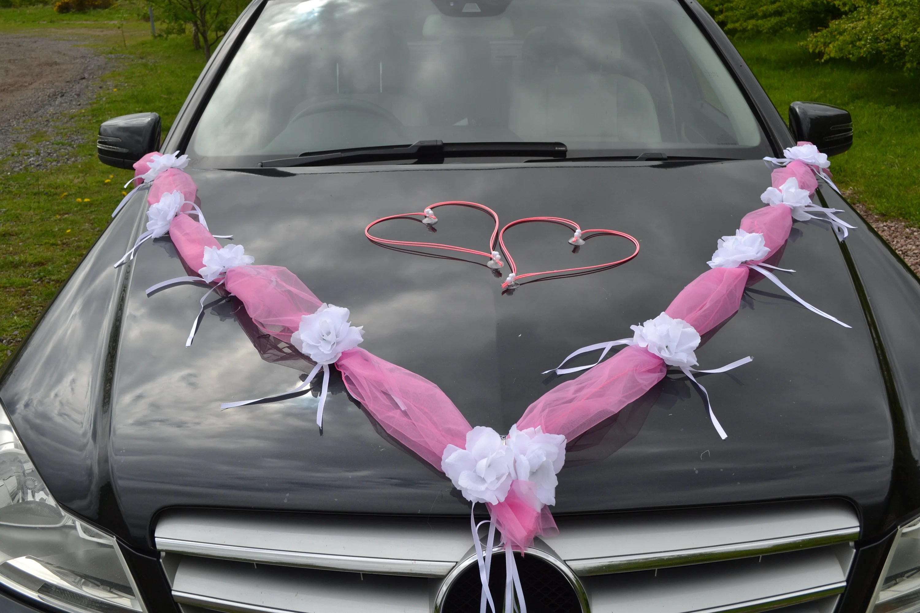 Car Decoration Weding Wedding Car Decoration Ribbon Bows Prom Limousine Decoration Garland Pink White Flowers