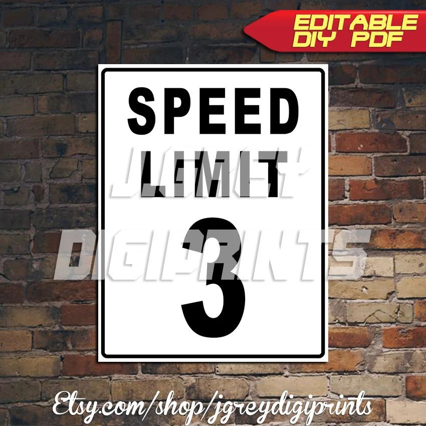 Printable Any Age Speed Limit Birthday Sign Street Signs Etsy
