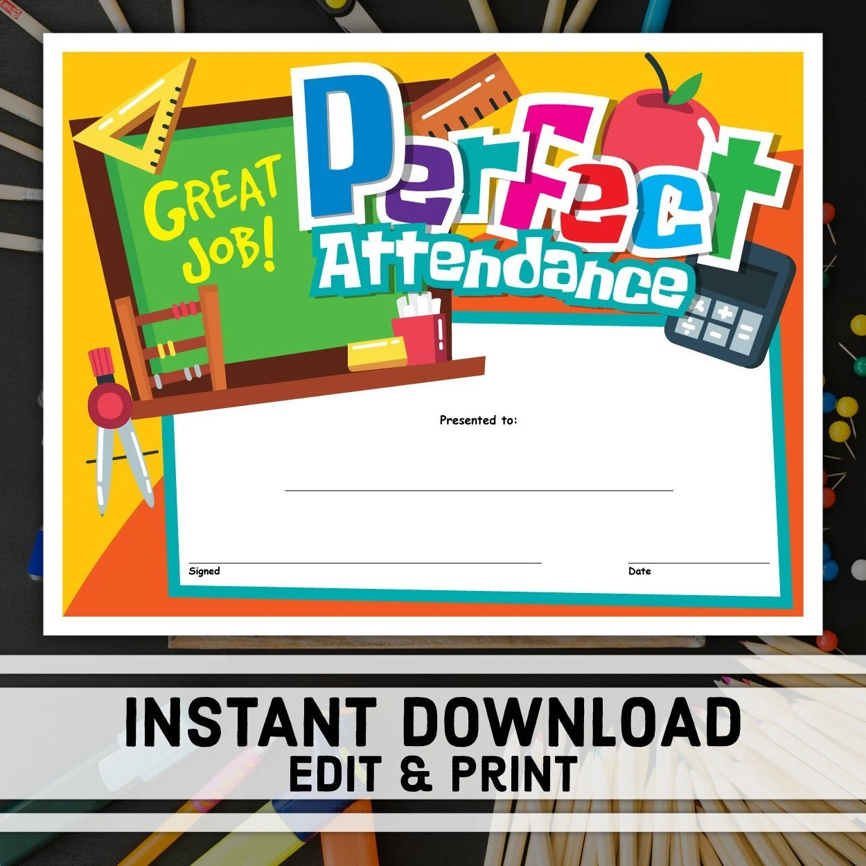 Perfect Attendance Certificate Instant Download Printable Etsy