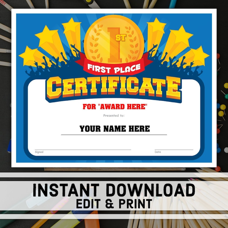 First Place Certificate 1st Place Award Printable Award Etsy