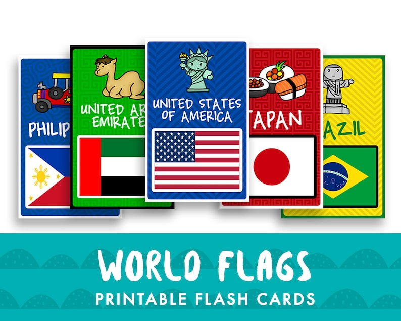 World Flags Printable Flash Cards for Kids Room Decor Etsy
