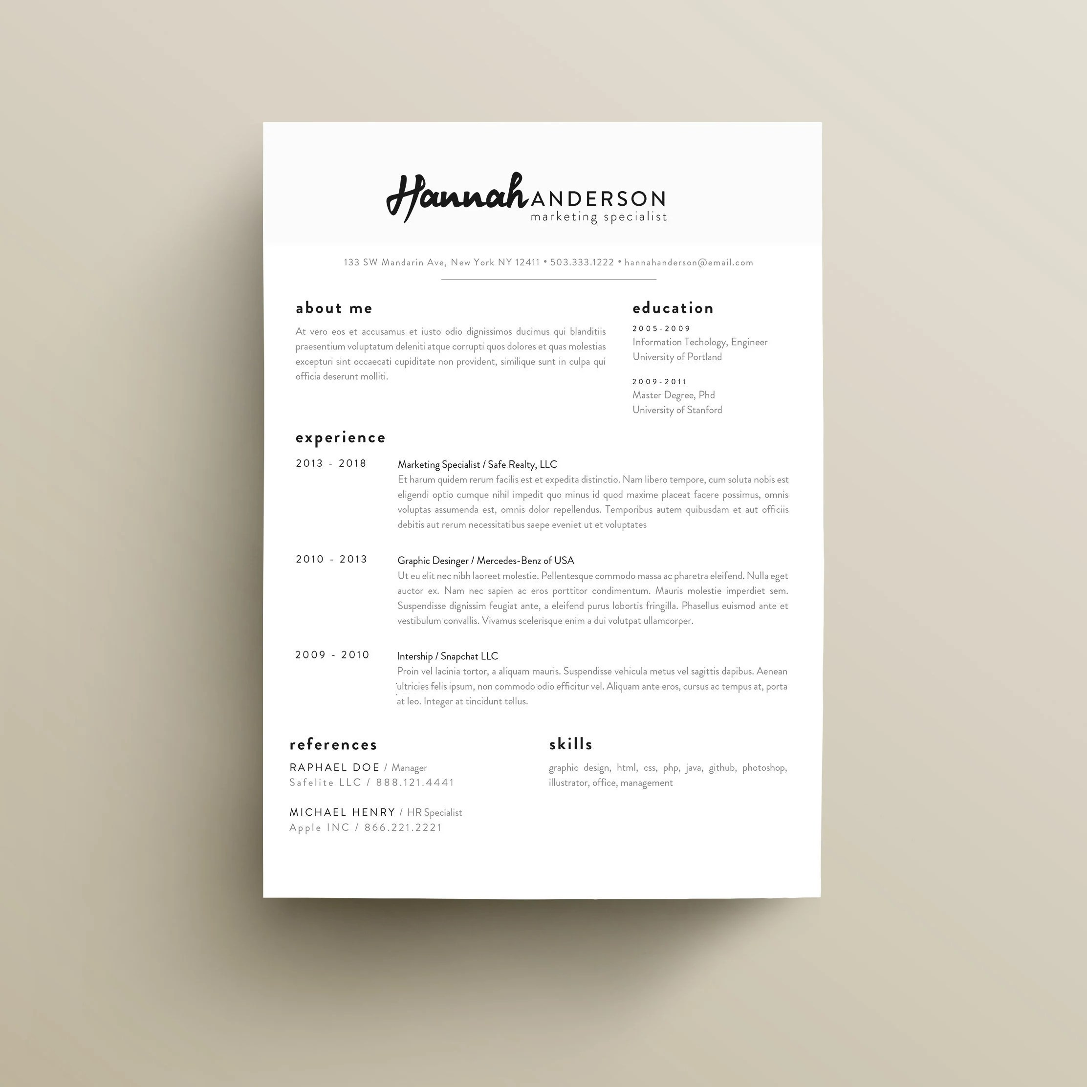 Professional Resume CV Template Clean and eye catching Etsy