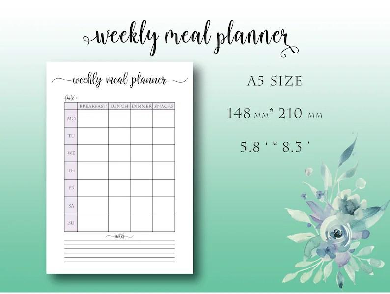 A5 Weekly Meal Planner Printable Menu Calendar Weekly Meal Etsy