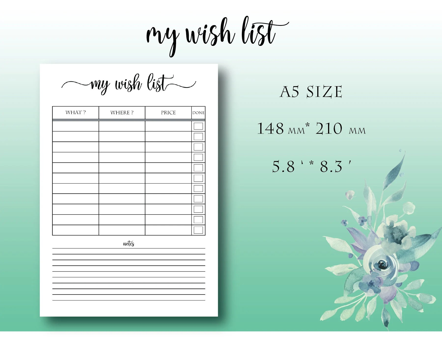 A5 Wish List Printable Insert Planner List of Favorite Items Etsy
