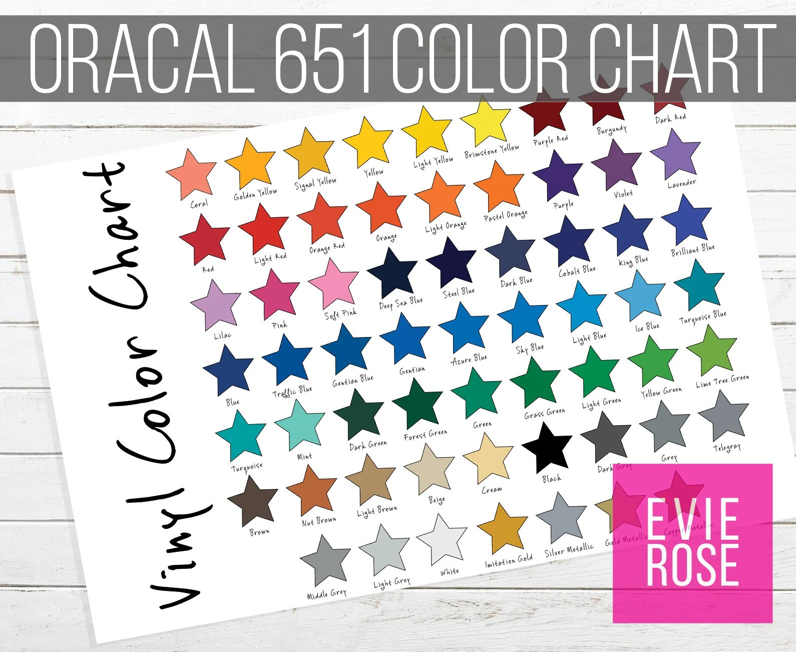 Oracal 651 Color Chart Graphic For Your Etsy Shop Star Etsy