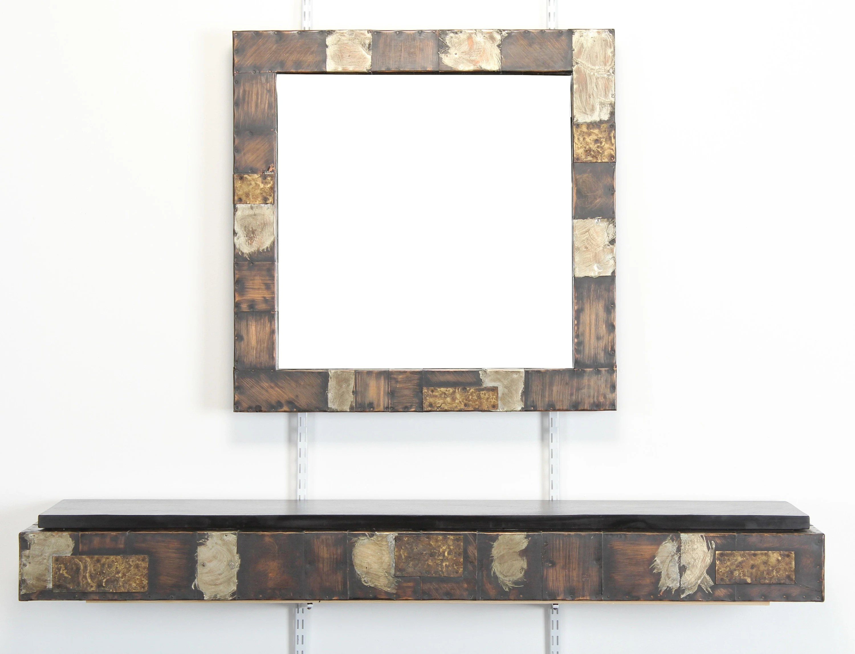 Roche Bobois Console Paul Evans Patchwork Mirror And Console With Pennsylvania Slate Top Brutalist 1970s