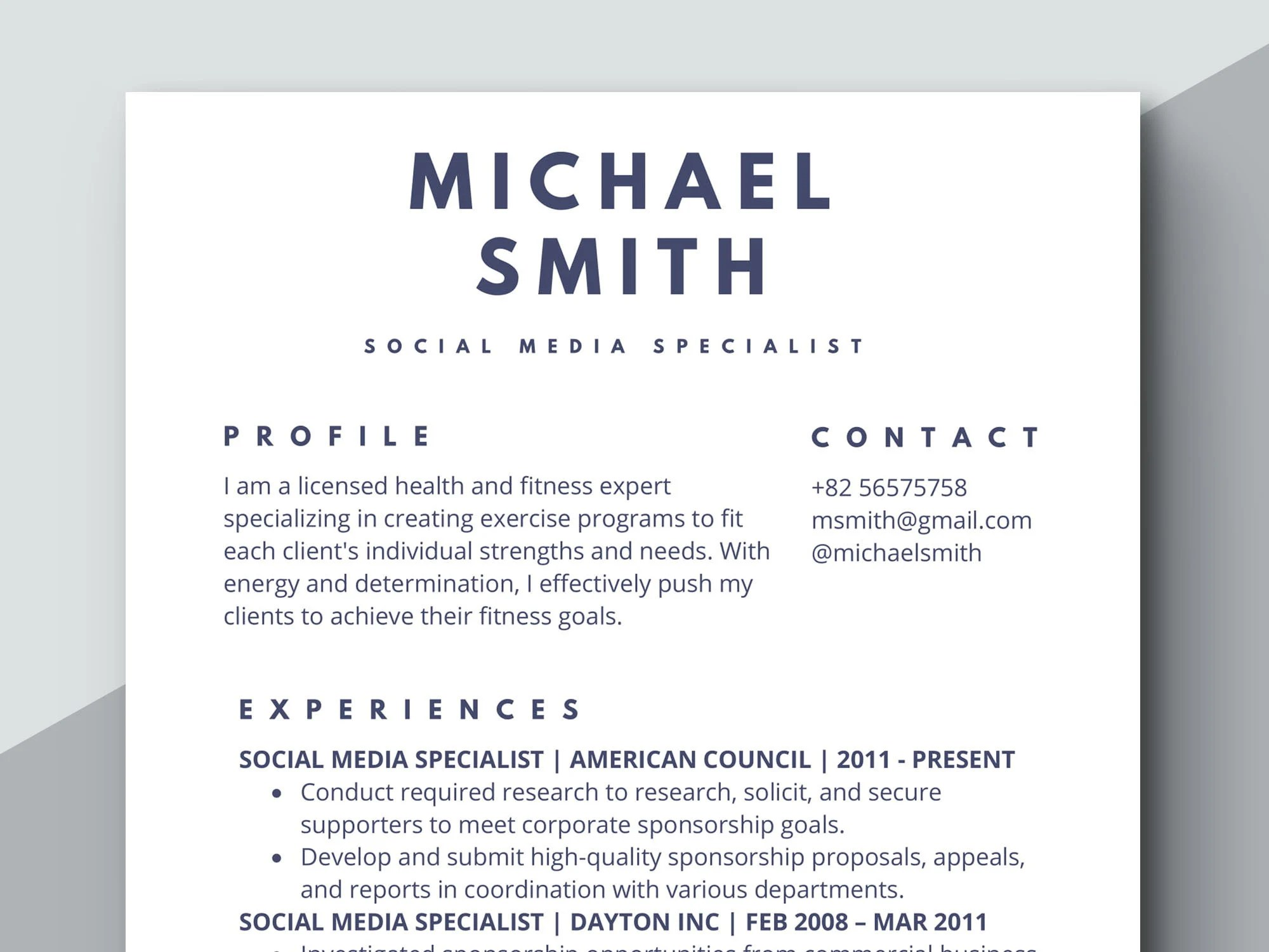 Simple Resume Template Classic Resume Formal Resume Etsy