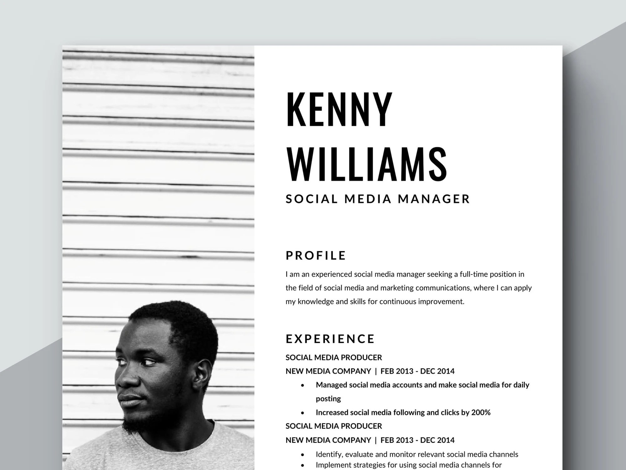 Social Media Resume Template Professional Resume Etsy