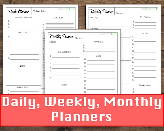 Daily Weekly and Monthly Planner Printable Templates Etsy
