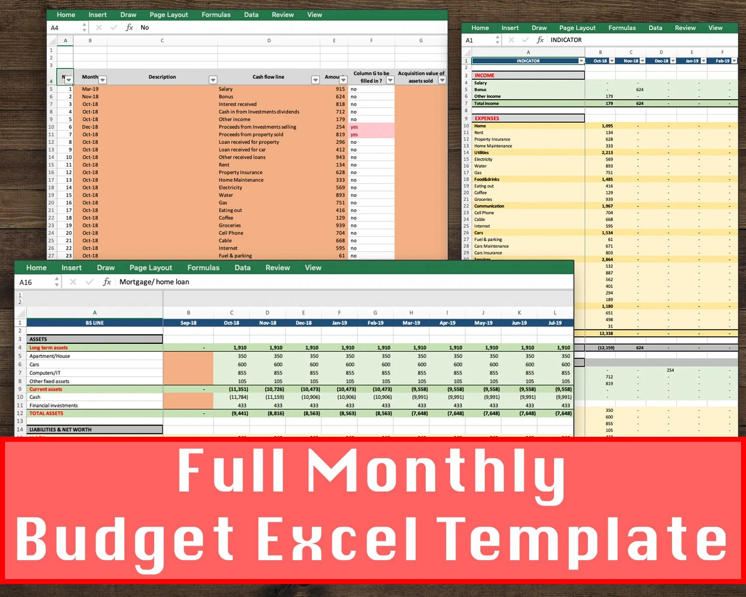 Monthly Budget Spreadsheet Personal Finance Sheet Home Etsy