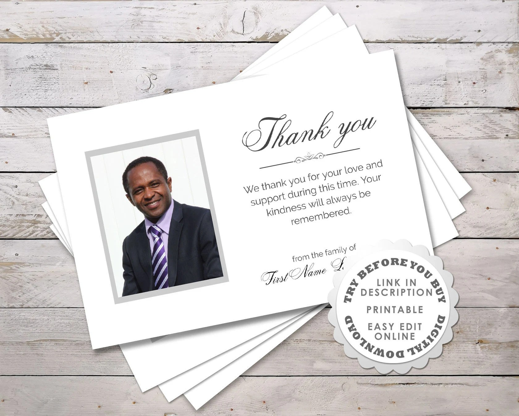 Modern Funeral Thank You Cards Printable Personalized Etsy