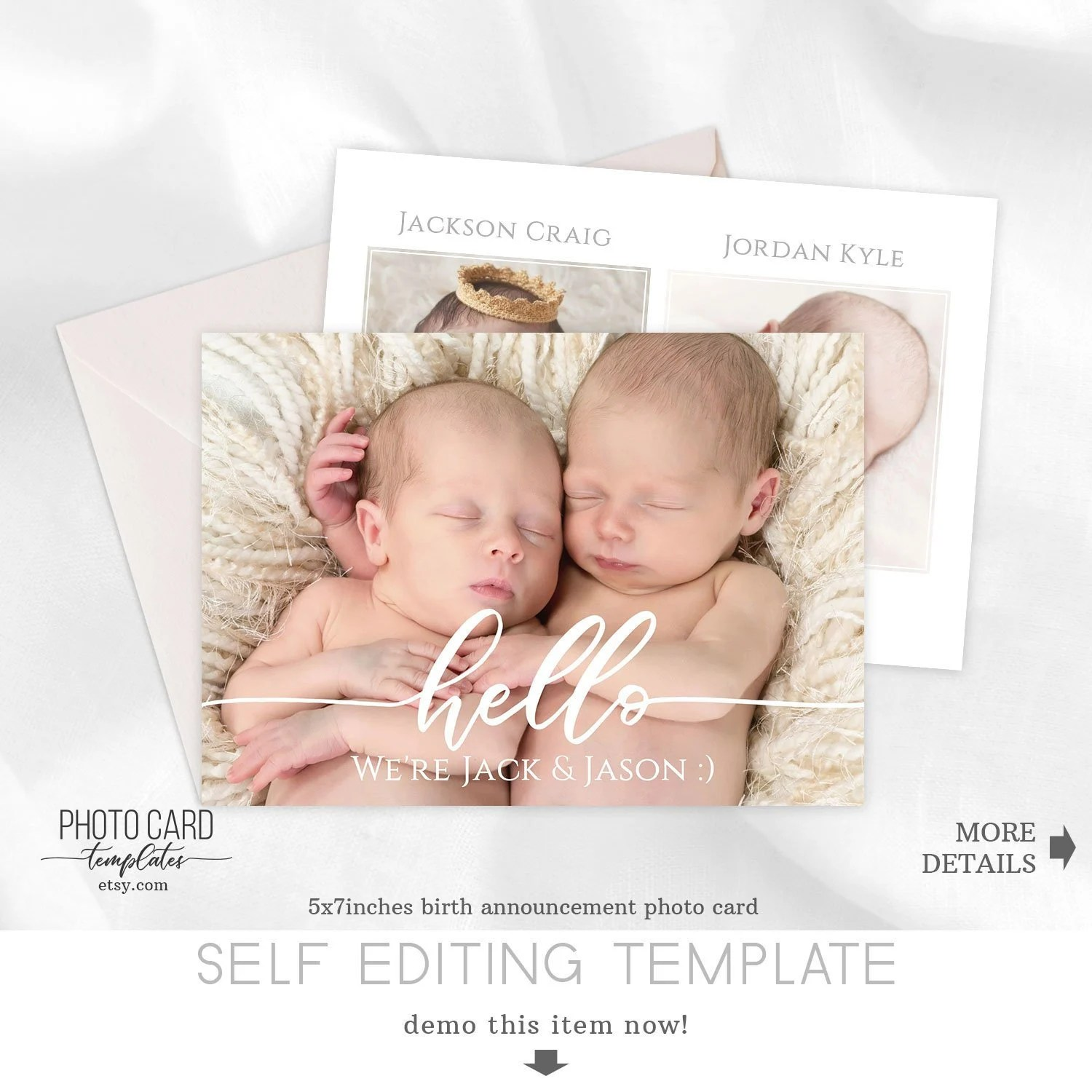 Twins Newborn Birth Announcement Photo Card Baby Etsy