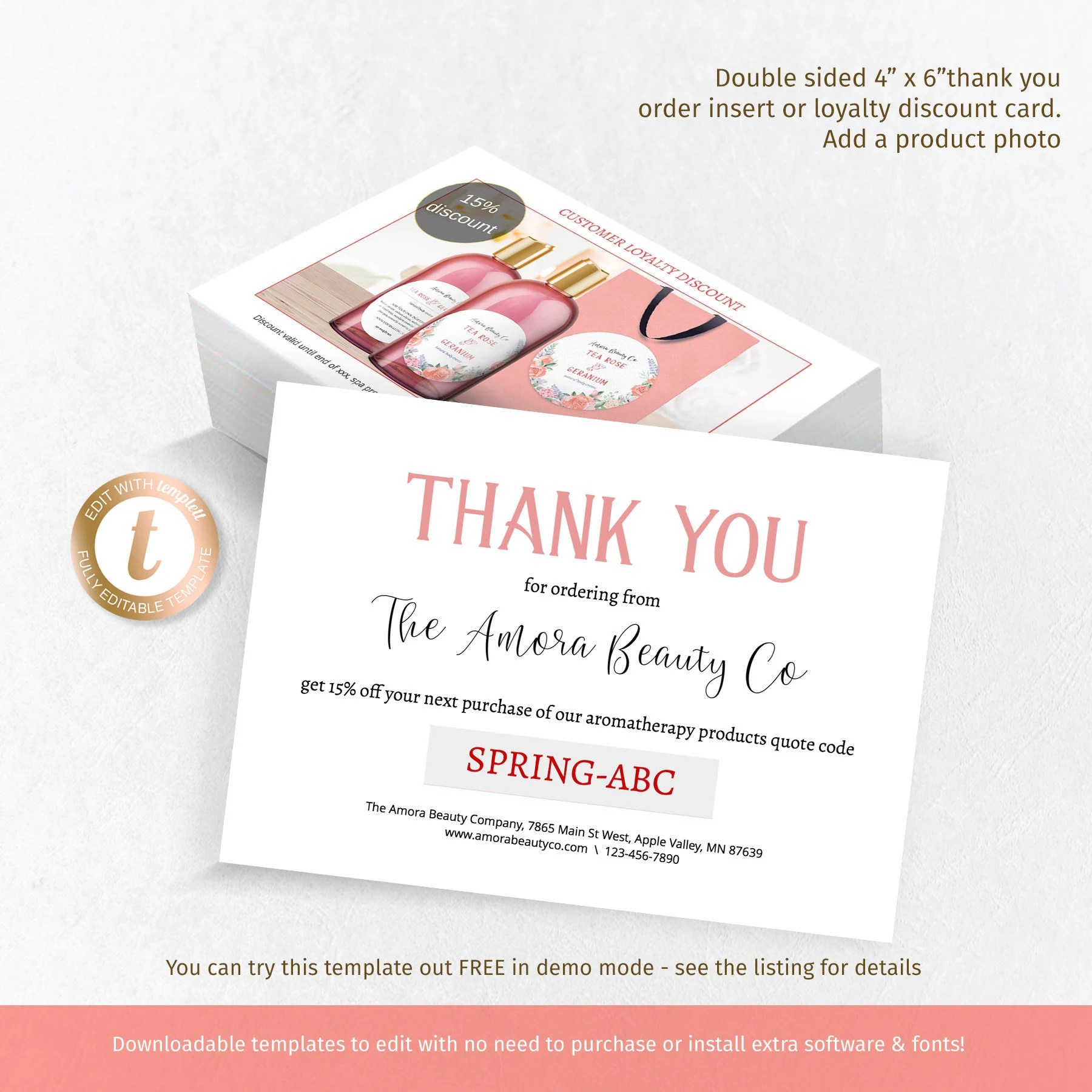 DIY customer thank you insert template add product photo Etsy