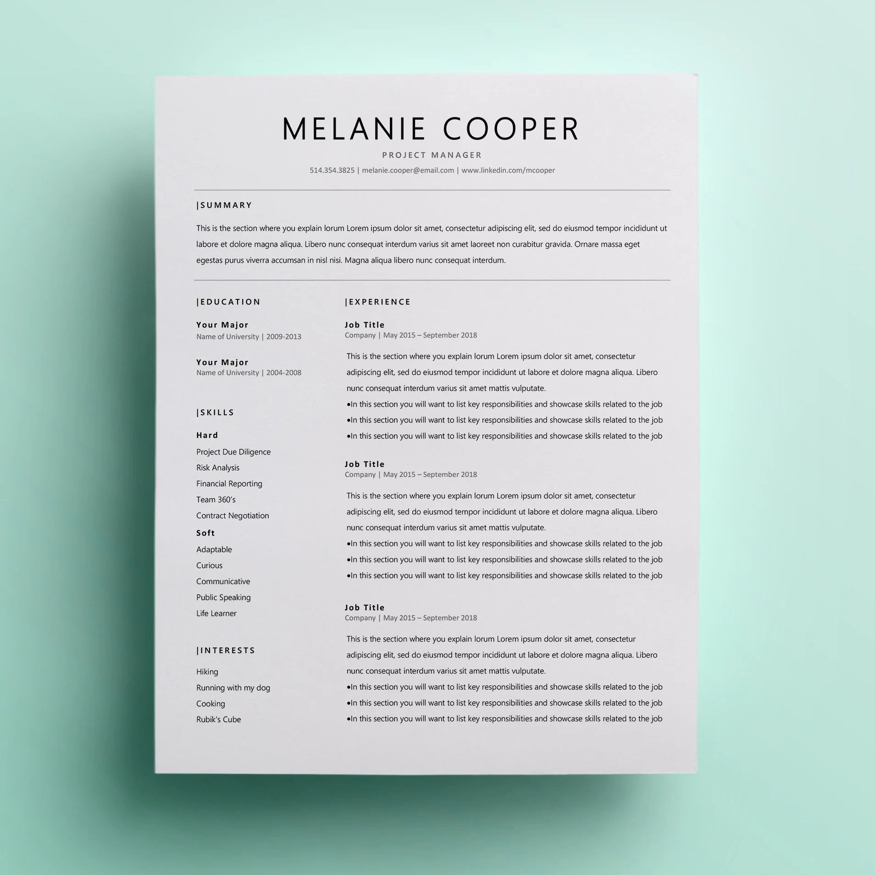 Business Resume Template CV Design Curriculum Vitae CV Etsy