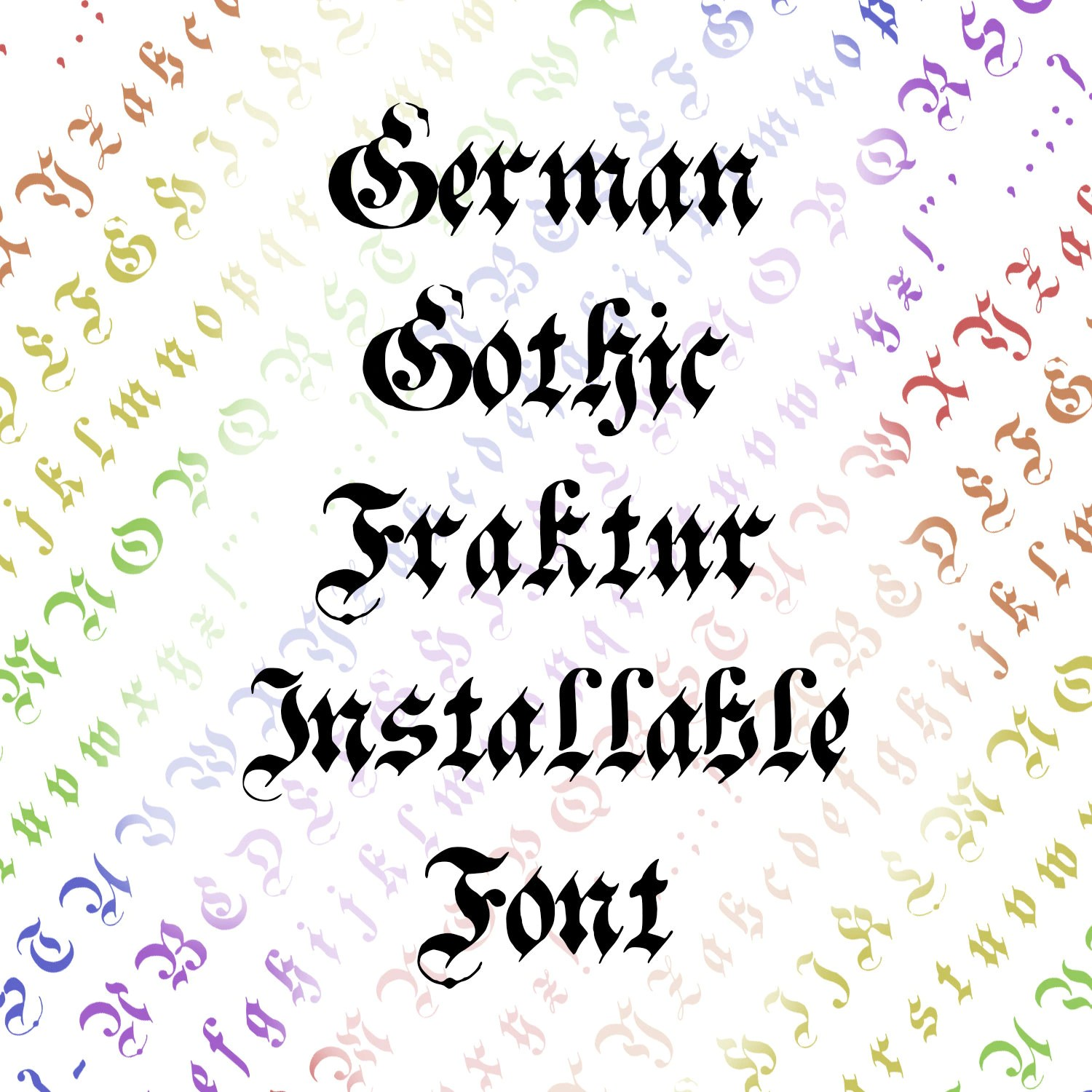Calligraphy Fonts Victorian Victorian German Gothic Fraktur Installable Font Vintage Hand Drawn Penwork Uppercase Lowercase Letters Punctuation Otf Ttf