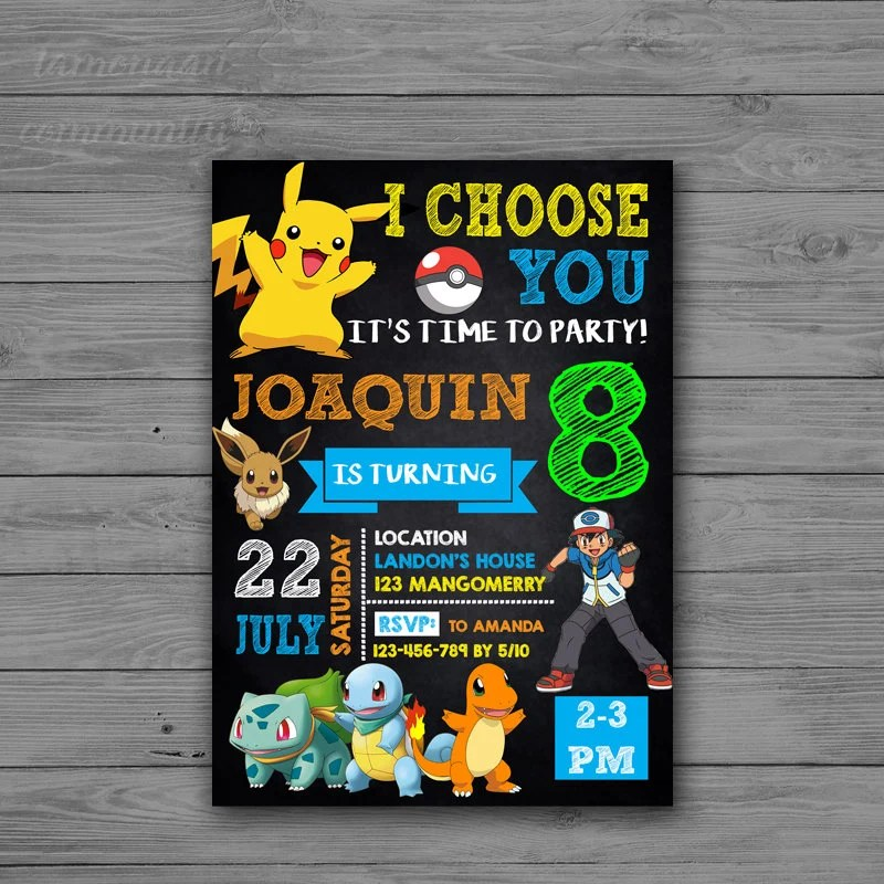Pokemon GO Invitations Pokemon Invitation Pokemon Boy Etsy