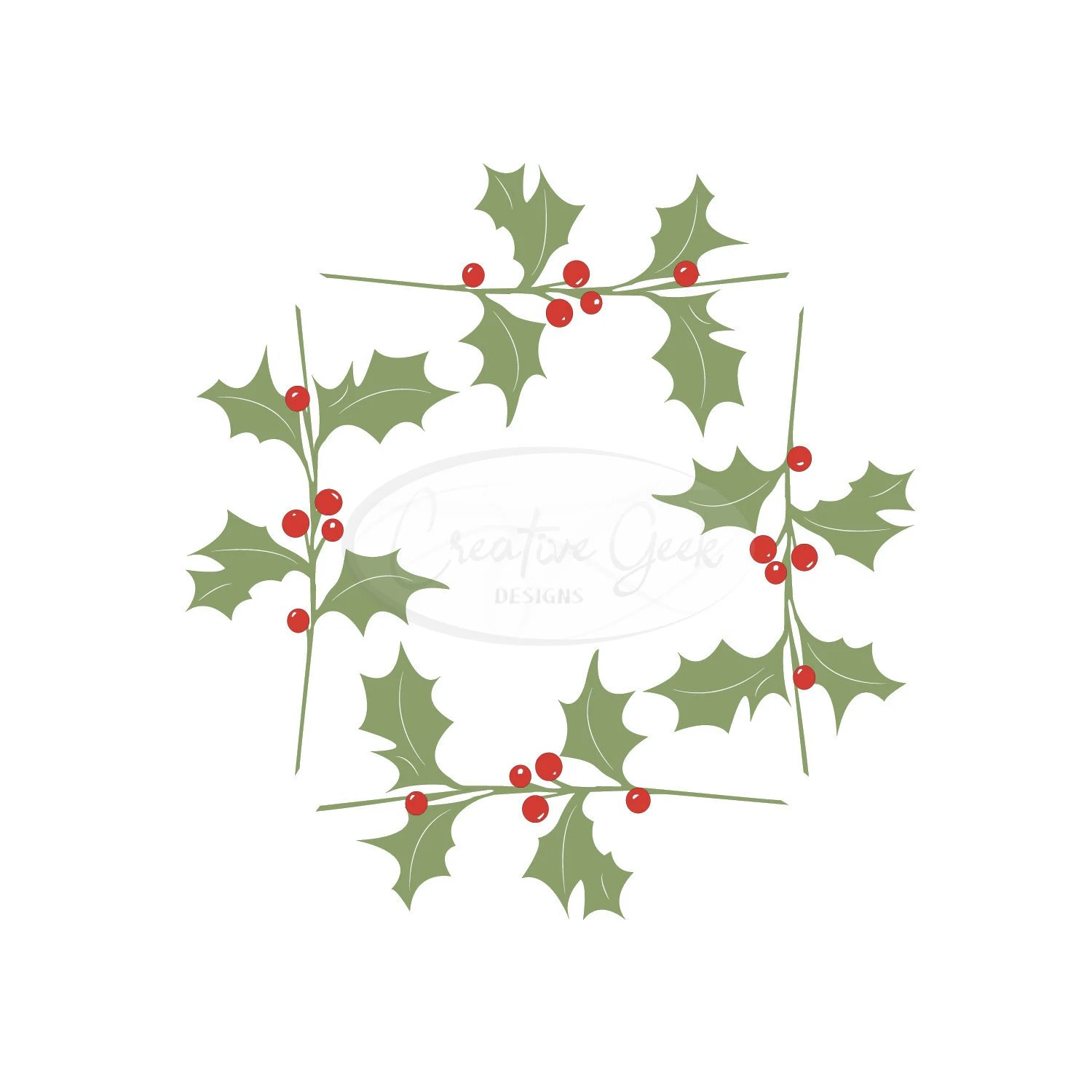Holly Frame Digital Download SVG Die Cut Shapes Christmas Etsy