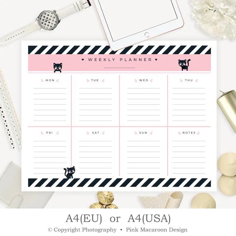 A4 Weekly Desk Pad Printable Weekly Planner Printable Kids Etsy
