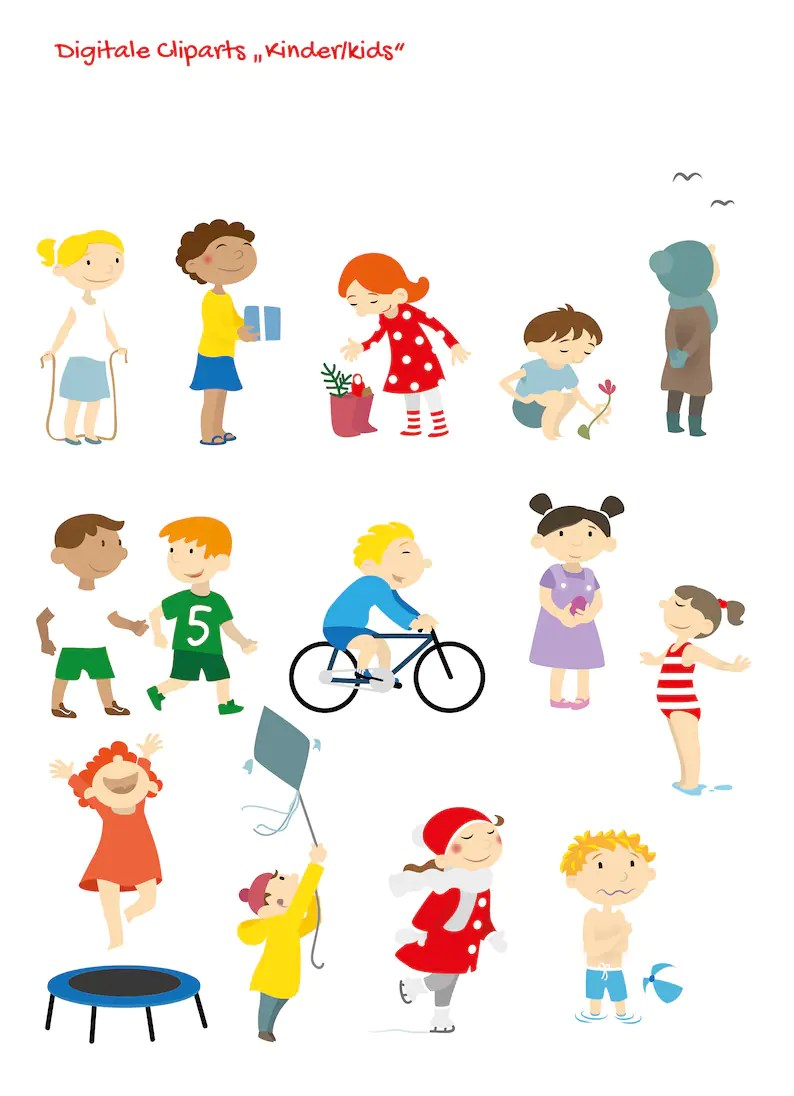 Kinder Cliparts Clipart Vektor Bundle Kinder Kids 13 Motive Digital Download