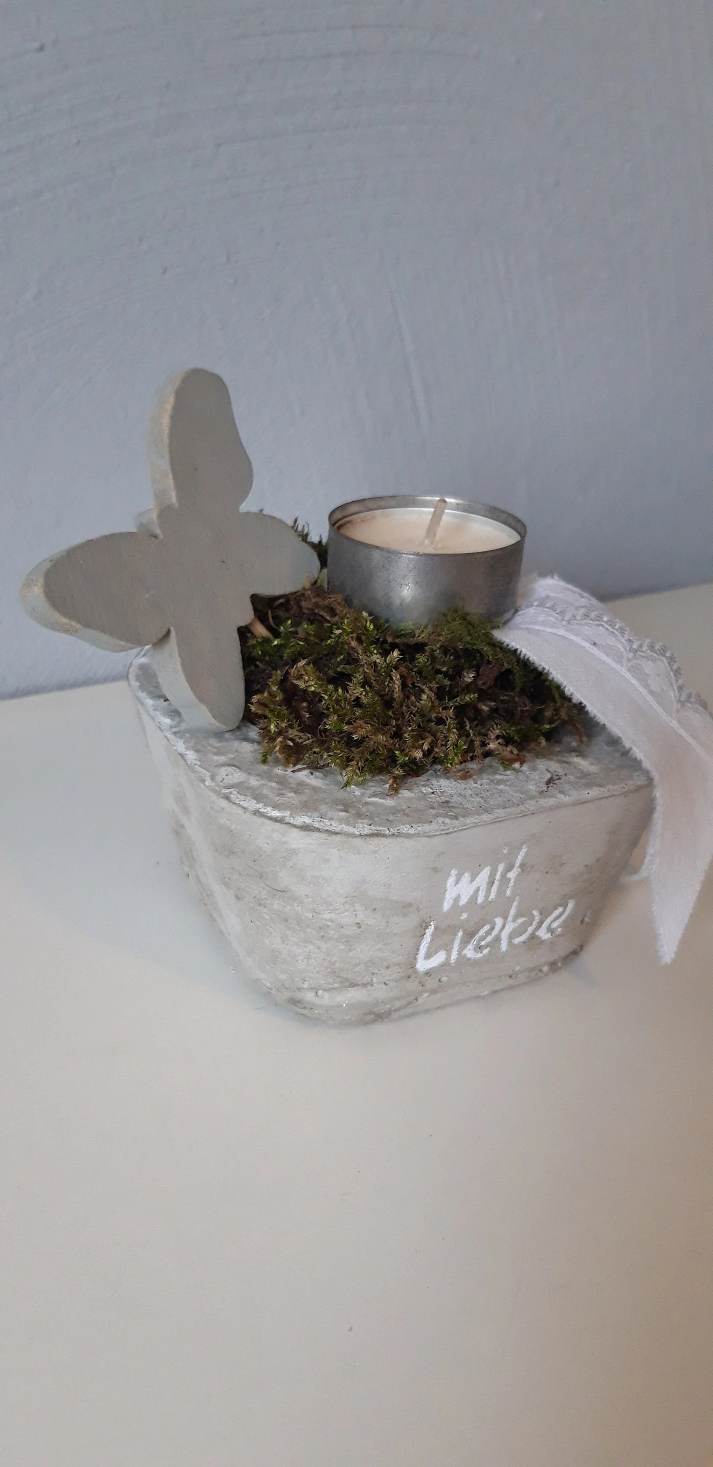 Shabby Look Concrete Bowl Easter Deco Shabby Look Spring Deco