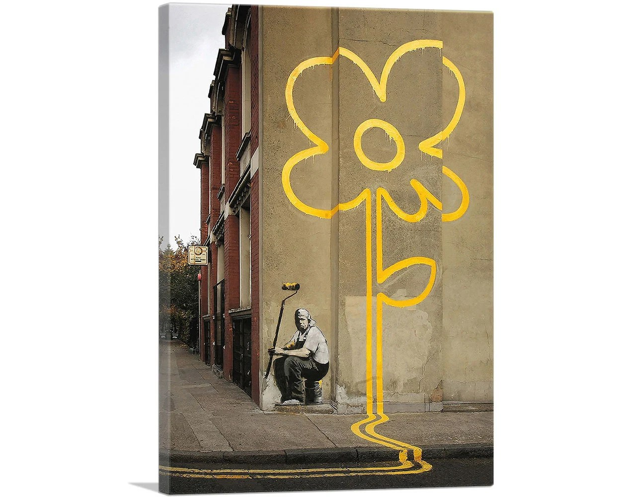 Banksy Canvas Art Artcanvas Yellow Lines Flower Painter By Banksy Canvas Art Print