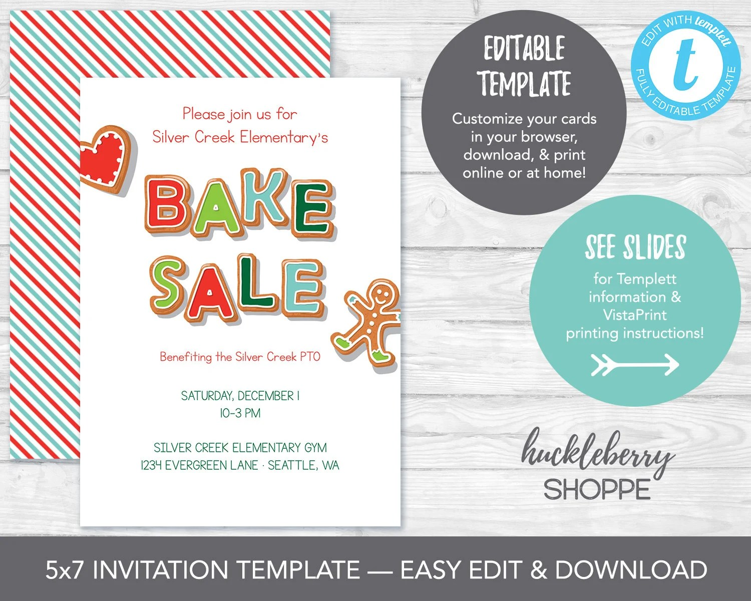 Holiday Bake Sale Invitation Template Christmas Cookie Sale Etsy
