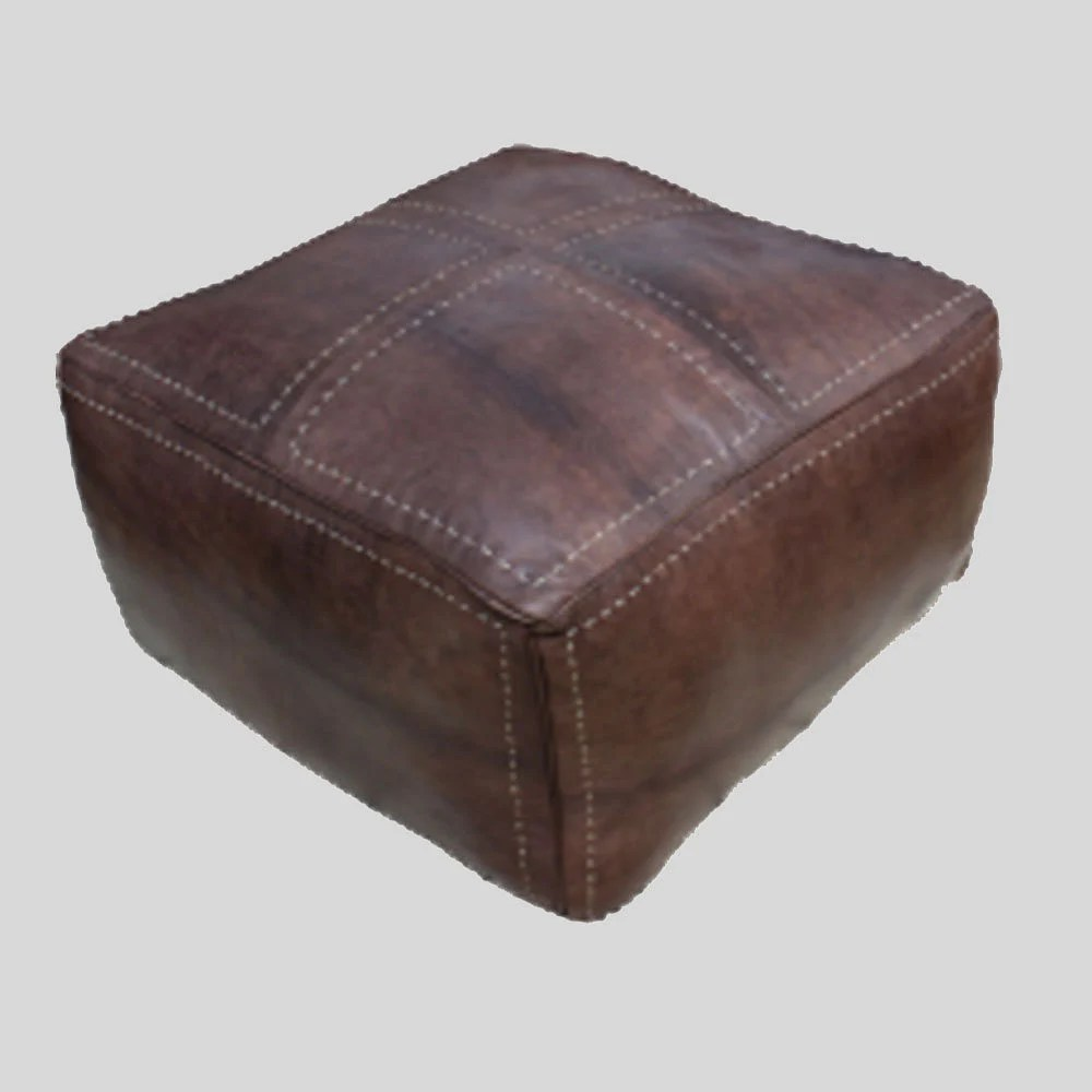 Extra Large Pouf Ottoman Square Moroccan Pouffe Pouf Footrest Cover Xl Extra Large Square Real Leather Natural Brown All Dimensions Available Square Pouffe Moroccan