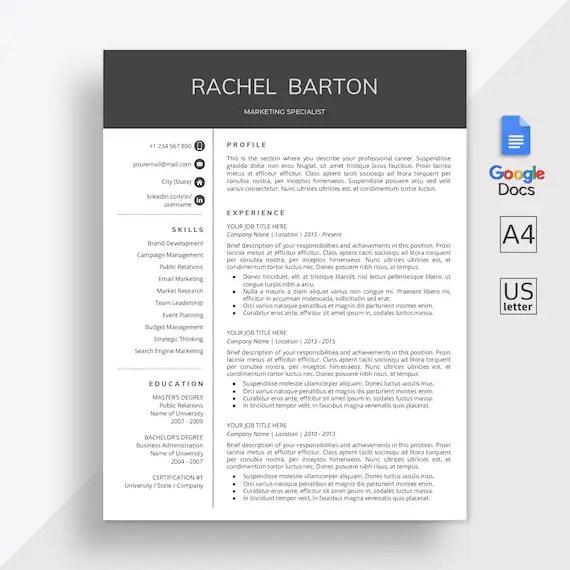 Google Docs Resume Template Google Docs CV Template Google Etsy