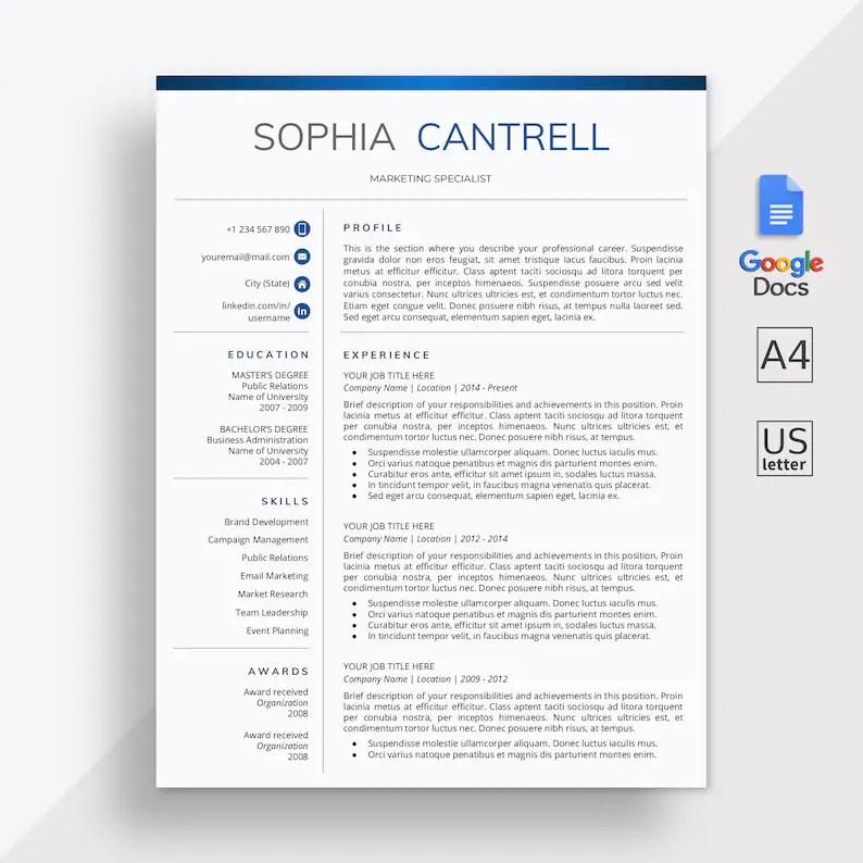 Google Docs Resume Template Google Docs CV Template Cover Etsy