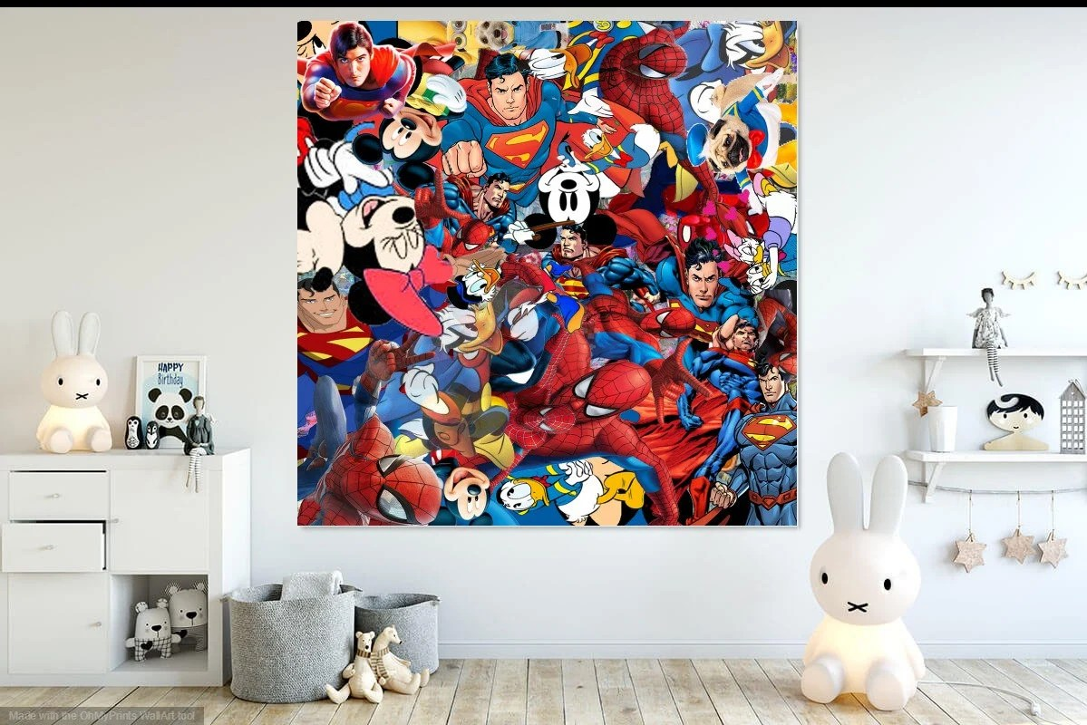 Comic Wall Decor Comic Wall Art Donald Duck Superman Spiderman Mickey Mouse Instant Download Digital Kids Room Or Nursery Decor