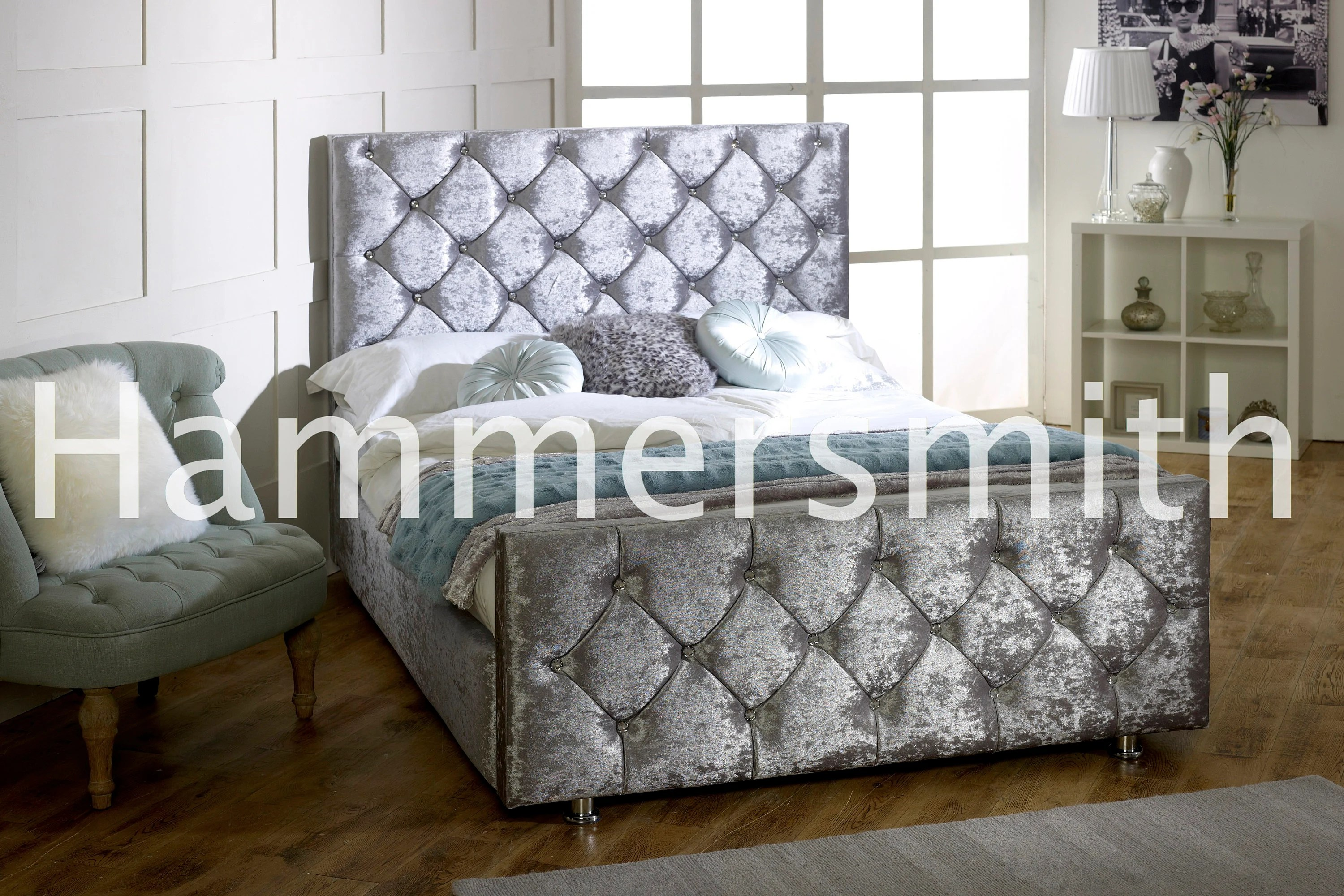 Crushed Velvet Bed Ebay Brand New Uk Handmade Diamond Crushed Velvet Bed Frame 3ft 4ft 4ft6 5ft
