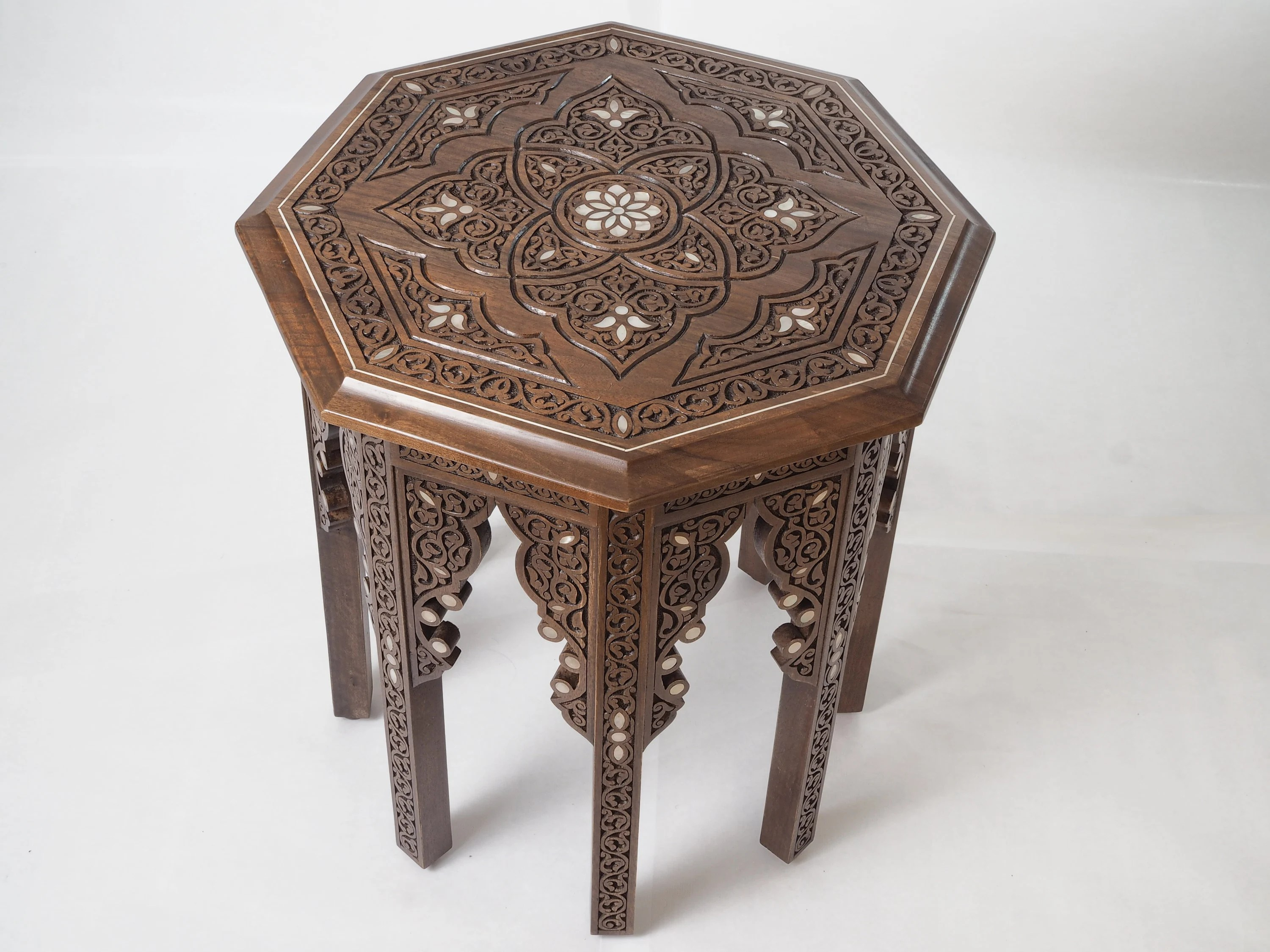 Couchtisch Orient Octagonal Coffee Table Inlaid With Mother Of Pearl Syrian Marquetry Carved Table Oriental Style Side Table Wooden Table Luxury Table