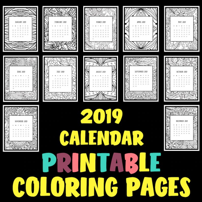 Printable 2019 Calendar Coloring Pages Etsy