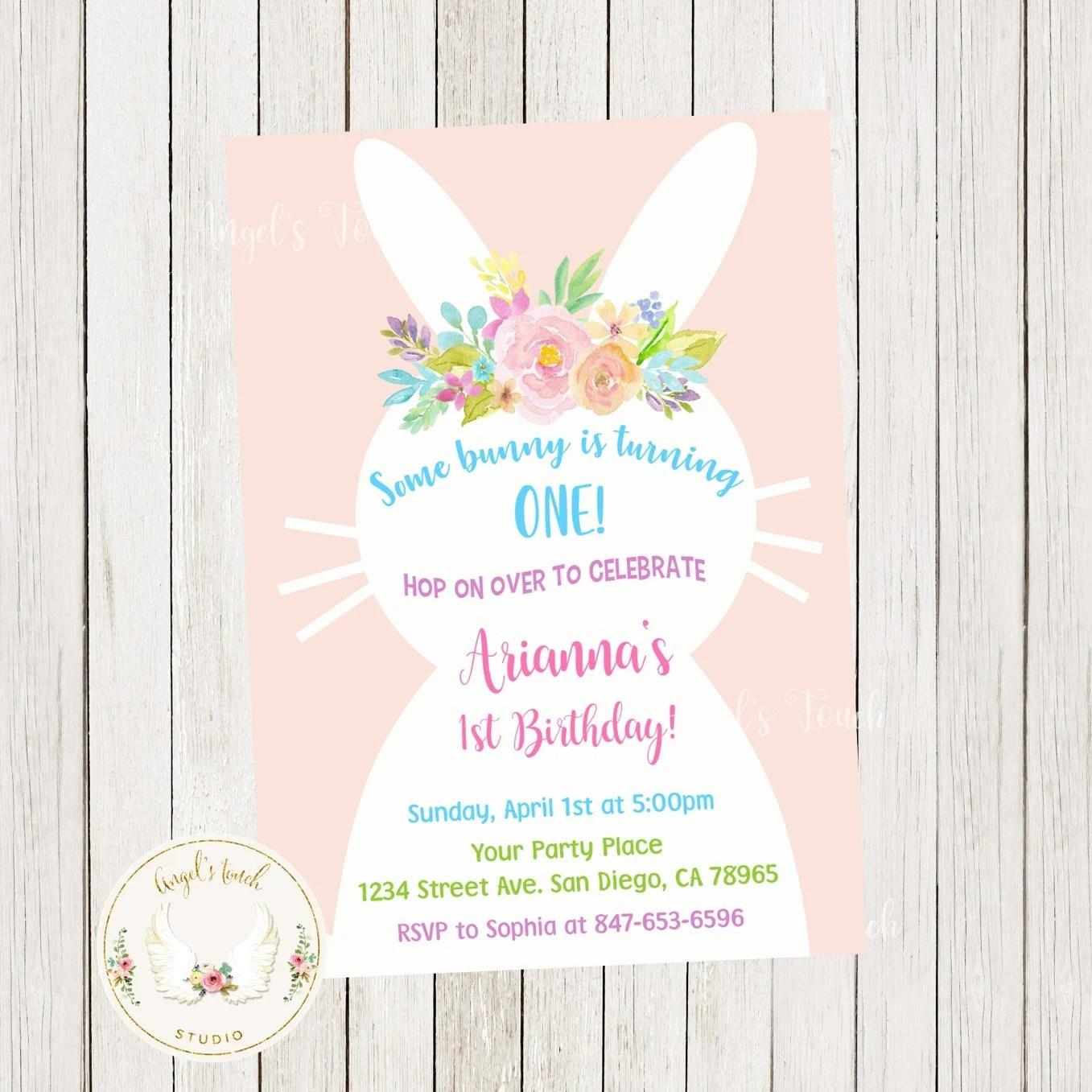 Easter Bunny Birthday Invitation Easter Party Invitation Etsy